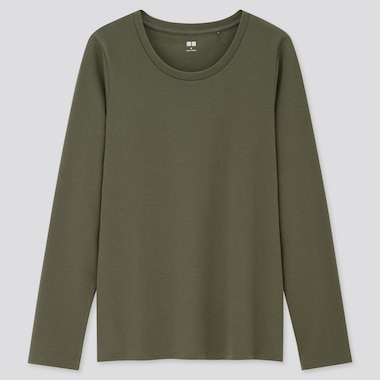 Women Stretch Cotton Crew Neck Long-Sleeve T-Shirt, Dark Green, Medium