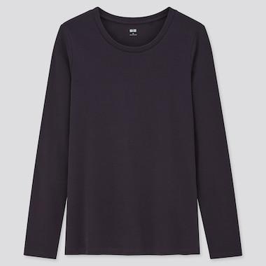 Women Stretch Cotton Crew Neck Long-Sleeve T-Shirt, Navy, Medium