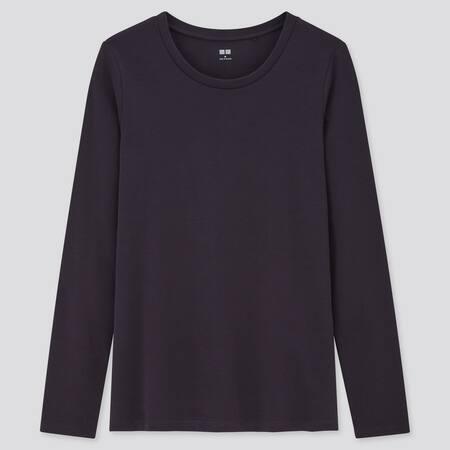 Women Cotton Stretch Crew Neck Long Sleeved T-Shirt