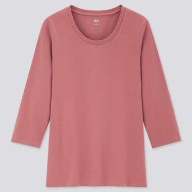 Women Cotton Stretch Crew Neck 3/4 Sleeved T-Shirt