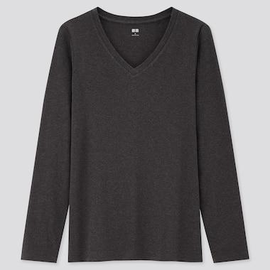 Women Cotton Stretch V Neck Long Sleeved T-Shirt