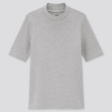 Women Stretch Cotton High-Neck Half-Sleeve T-Shirt, Gray, Medium