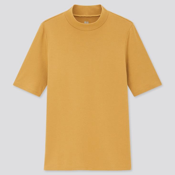 Women Stretch Cotton High-Neck Half-Sleeve T-Shirt, Yellow, Large