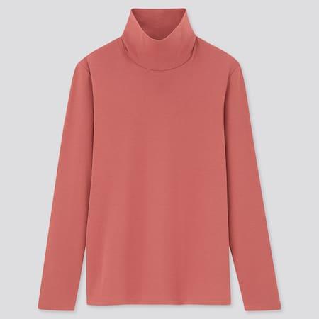 Women Cotton Stretch Turtleneck Long Sleeved Top