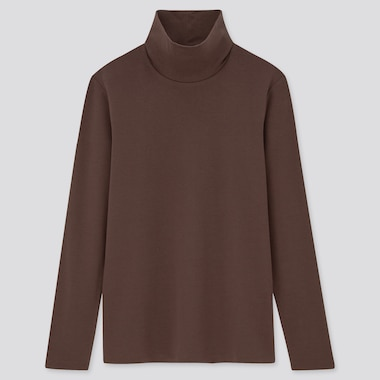 Women Cotton Stretch Turtleneck Long Sleeved T-Shirt