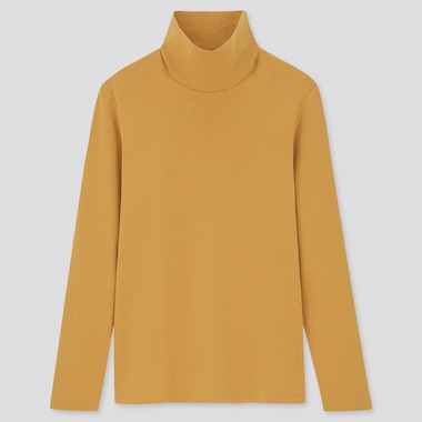 Women Stretch Cotton Turtleneck Long-Sleeve Shirt, Yellow, Medium