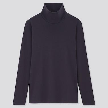 Women Stretch Cotton Turtleneck Long-Sleeve Shirt, Navy, Medium