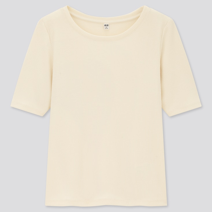 Women Ribbed Round Neck Half-Sleeve T-Shirt, Off White, Large