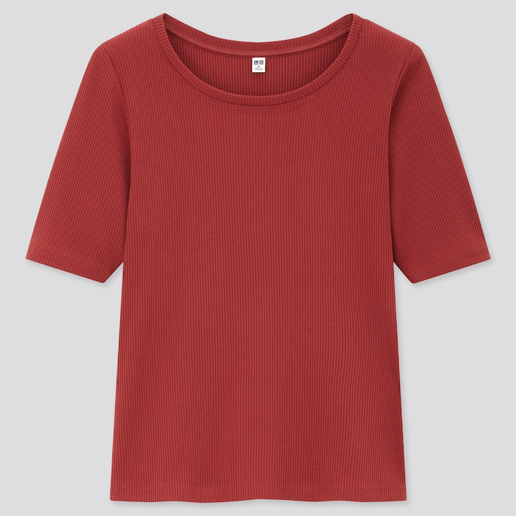 Women Ribbed Round Neck Half-Sleeve T-Shirt, Red, Large