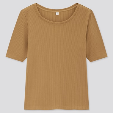 Women Ribbed Round Neck Half-Sleeve T-Shirt, Beige, Medium
