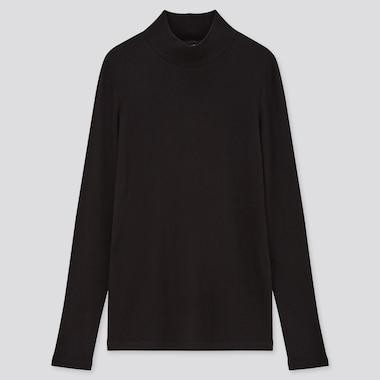 Women Ribbed High Neck Long Sleeved T-Shirt