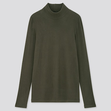 Women Ribbed High-Neck Long-Sleeve T-Shirt, Dark Green, Medium