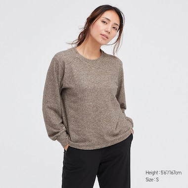 Women Soft Knitted Crew Neck Puff Long-Sleeve T-Shirt, Beige, Medium