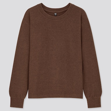 Women Soft Knitted Crew Neck Puff Long-Sleeve T-Shirt, Dark Brown, Medium