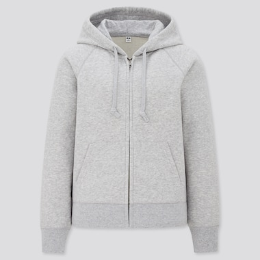 Women Sweat Long-Sleeve Full-Zip Hoodie, Gray, Medium