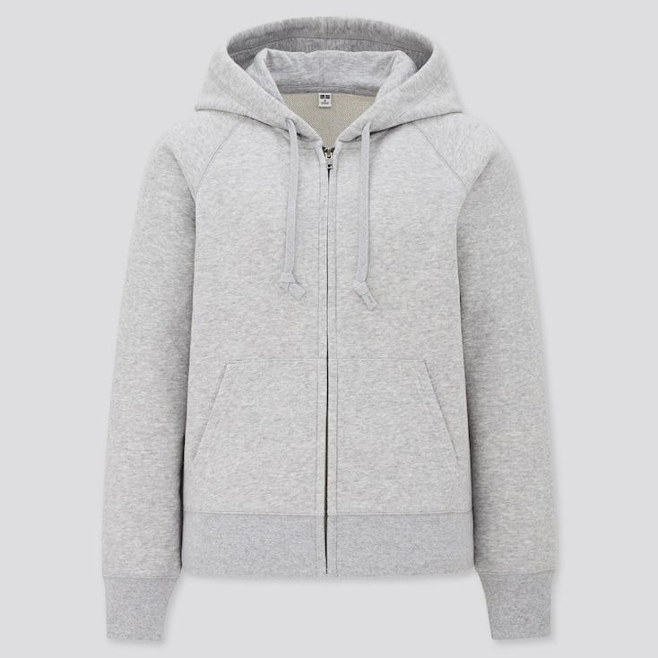 Women Sweat Long-Sleeve Full-Zip Hoodie, Gray, Large