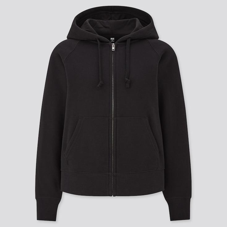 Women Sweat Long-Sleeve Full-Zip Hoodie, Black, Large
