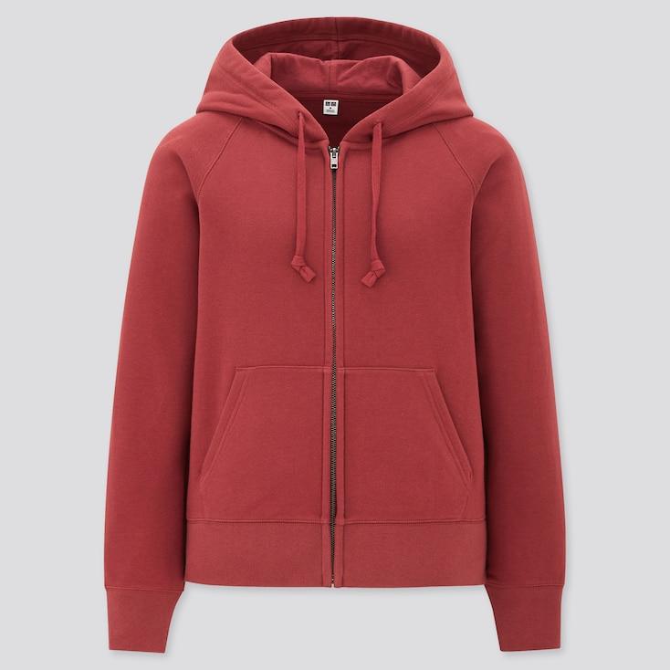 Women Sweat Long-Sleeve Full-Zip Hoodie, Red, Large