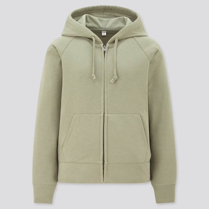 Women Sweat Long-Sleeve Full-Zip Hoodie, Green, Large
