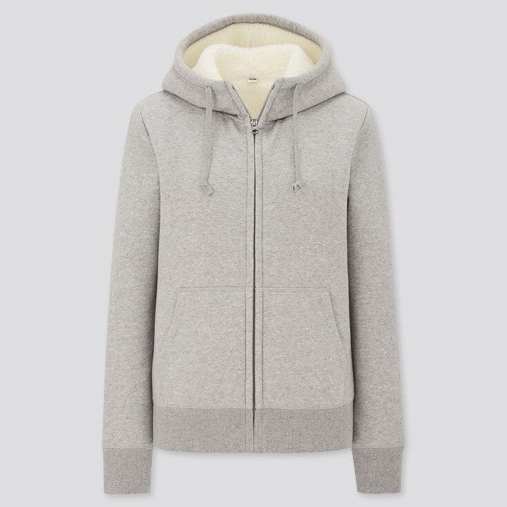 Women Pile-Lined Sweat Long-Sleeve Full-Zip Hoodie, Gray, Large