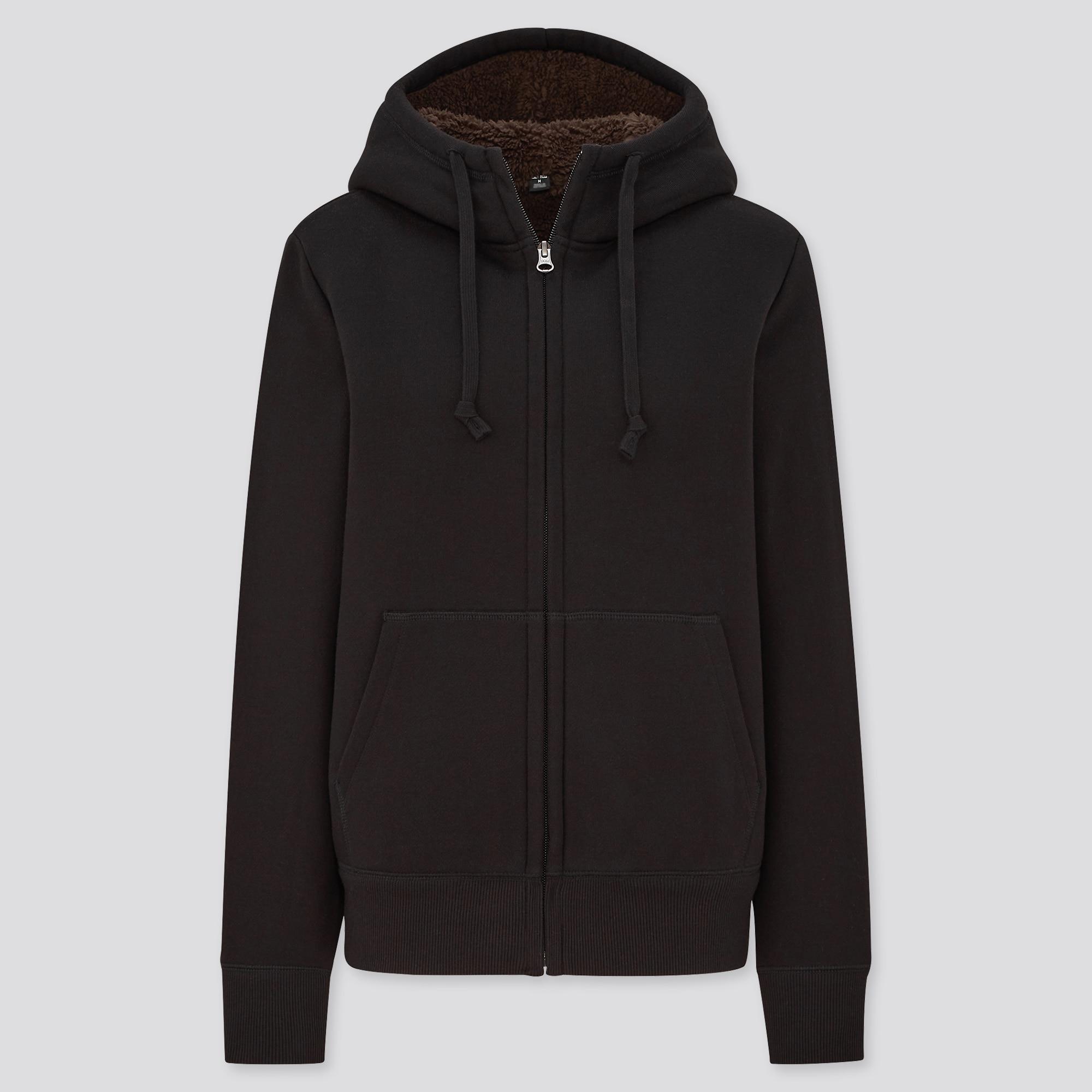 women pile-lined sweat long-sleeve full-zip hoodie