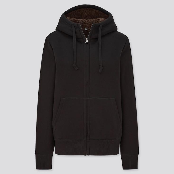 Women Pile-Lined Sweat Long-Sleeve Full-Zip Hoodie, Black, Large