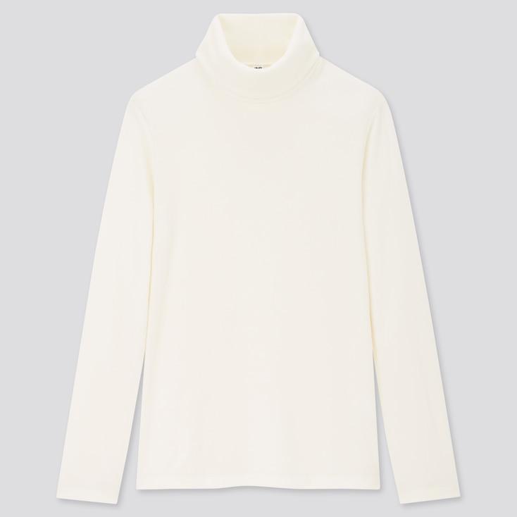 Women Heattech Fleece Turtleneck Long-Sleeve T-Shirt, Off White, Large