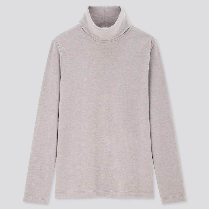 Women Heattech Fleece Turtleneck Long-Sleeve T-Shirt, Gray, Large