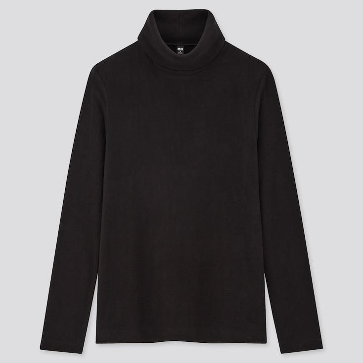 Women Heattech Fleece Turtleneck Long-Sleeve T-Shirt, Black, Large