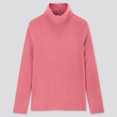 Women Heattech Fleece Turtleneck Long-Sleeve T-Shirt, Pink, Medium