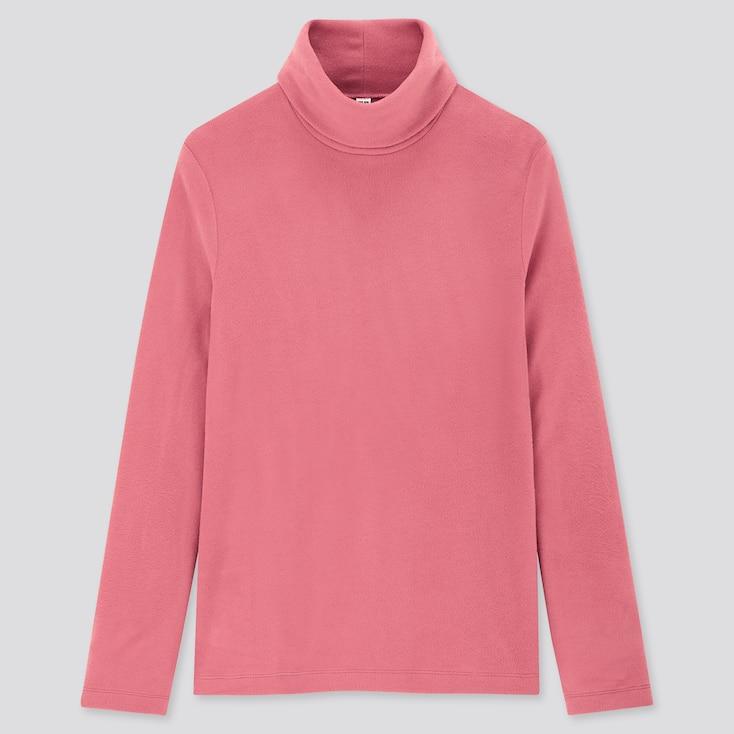 Women Heattech Fleece Turtleneck Long-Sleeve T-Shirt, Pink, Large