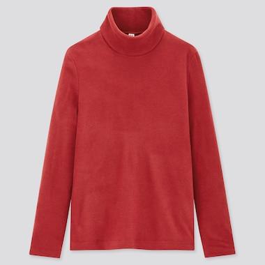 Women Heattech Fleece Turtleneck Long-Sleeve T-Shirt, Red, Medium