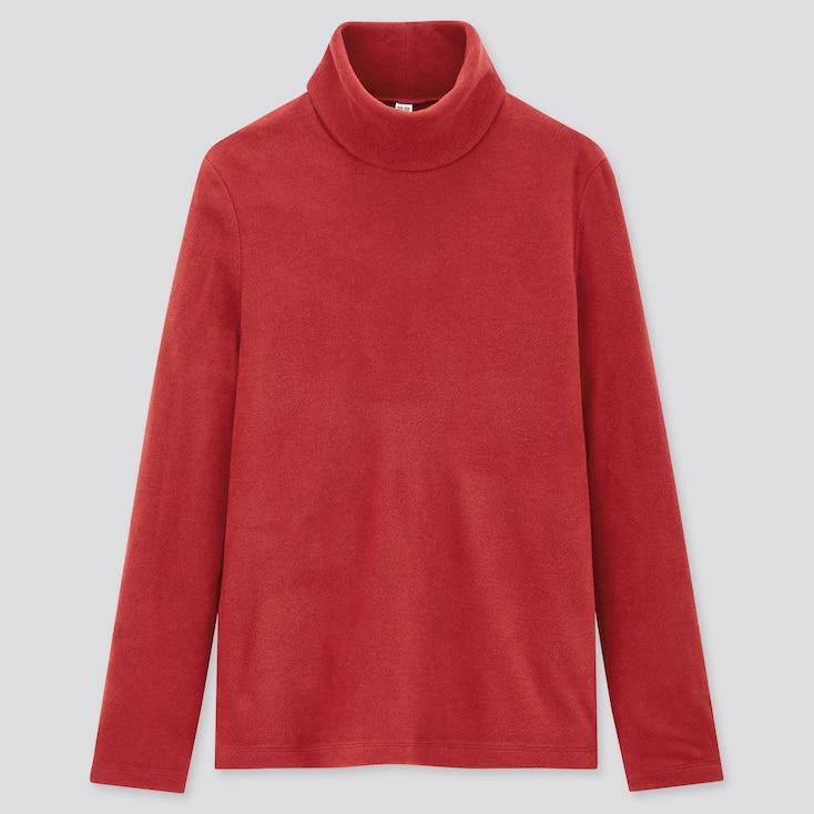 Women Heattech Fleece Turtleneck Long-Sleeve T-Shirt, Red, Large