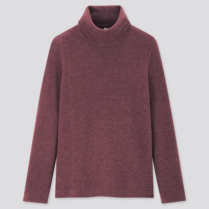 Women Heattech Fleece Turtleneck Long-Sleeve T-Shirt, Wine, Large