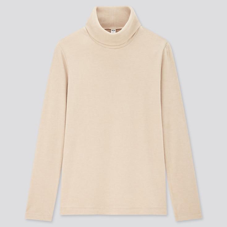 Women Heattech Fleece Turtleneck Long-Sleeve T-Shirt, Beige, Large