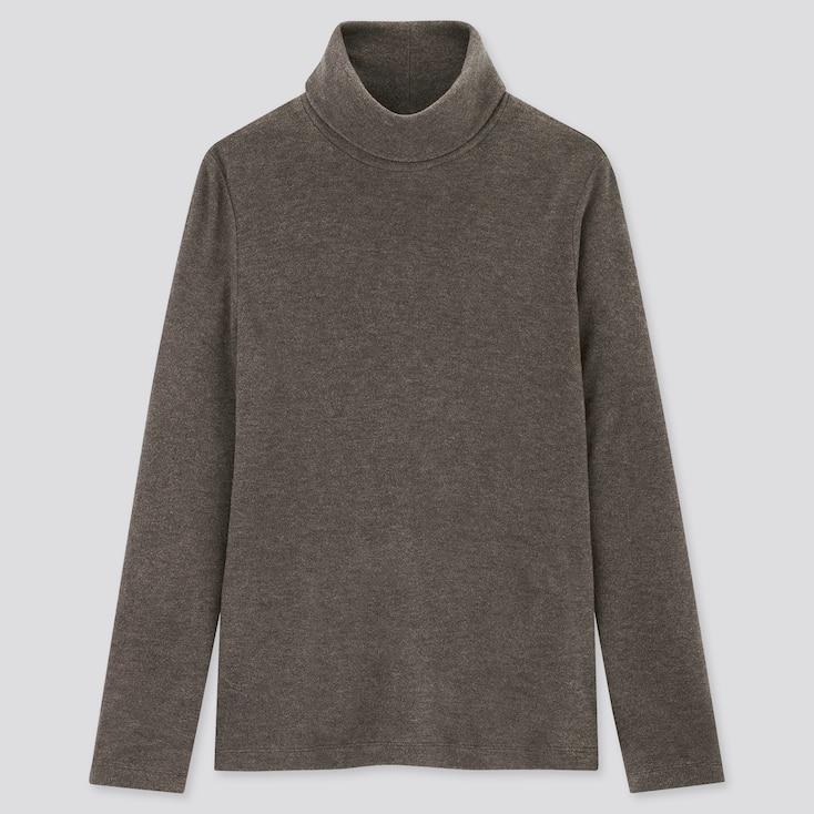 Women Heattech Fleece Turtleneck Long-Sleeve T-Shirt, Dark Brown, Large