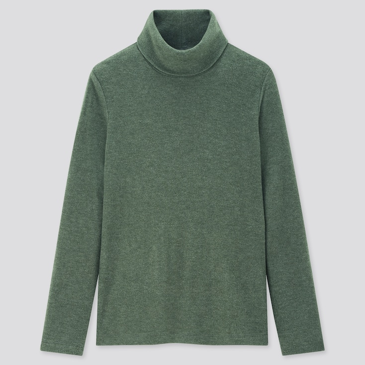 Women Heattech Fleece Turtleneck Long-Sleeve T-Shirt, Green, Large