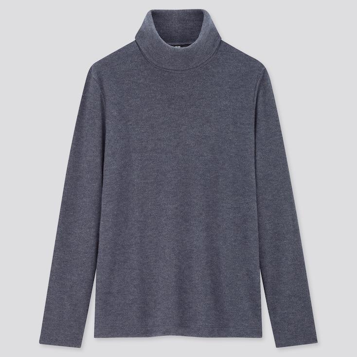 Women Heattech Fleece Turtleneck Long-Sleeve T-Shirt, Blue, Large