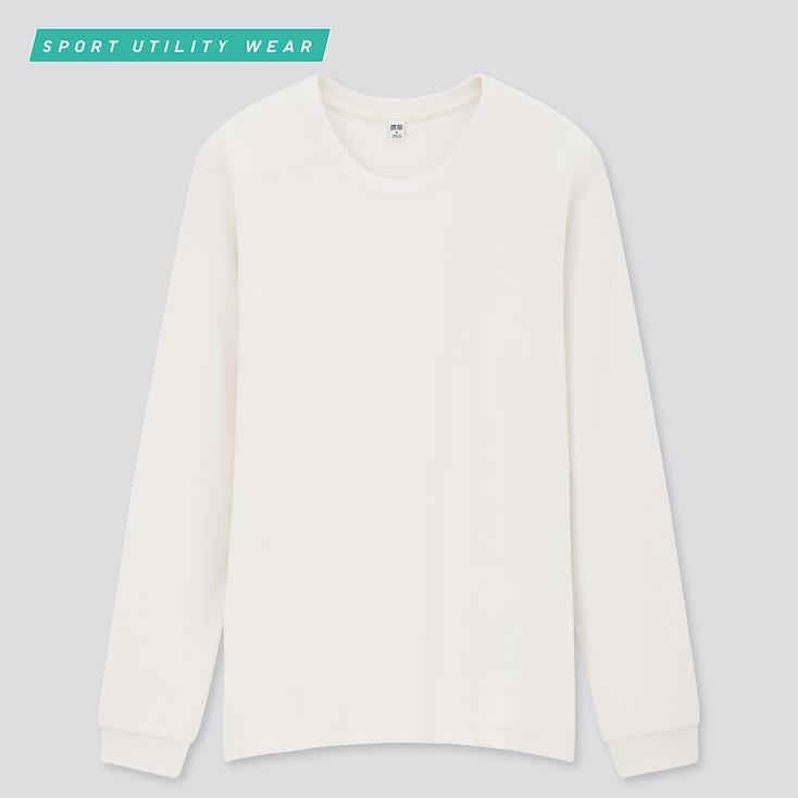 Women Heattech Stretch Fleece Crew Neck Long-Sleeve T-Shirt, Off White, Large