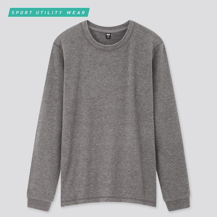 Women Heattech Stretch Fleece Crew Neck Long-Sleeve T-Shirt, Dark Gray, Large