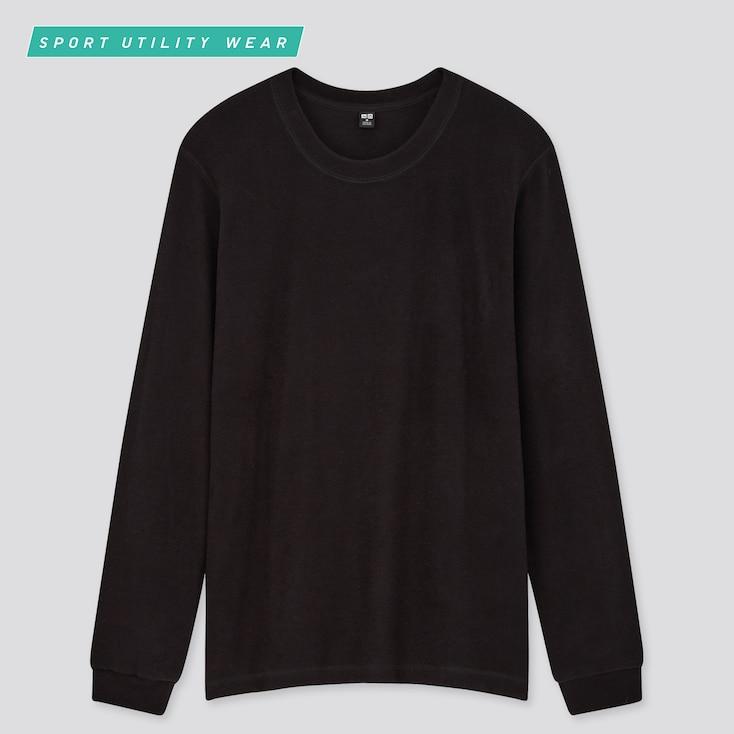Women Heattech Stretch Fleece Crew Neck Long-Sleeve T-Shirt, Black, Large