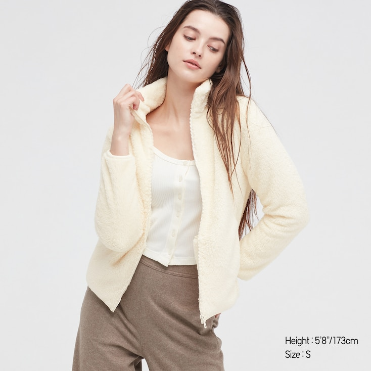 Women Fluffy Yarn Fleece Full-Zip Jacket, Off White, Large