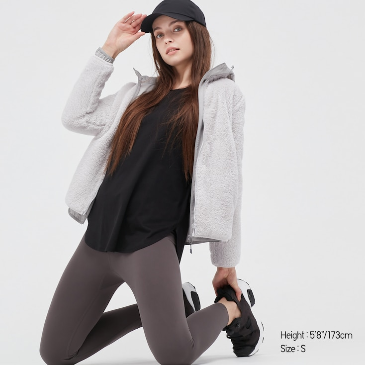 Women Fluffy Yarn Fleece Full-Zip Jacket, Light Gray, Large