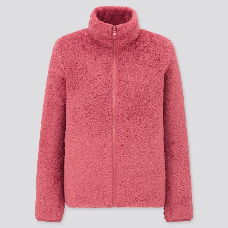Women Fluffy Yarn Fleece Full-Zip Jacket, Pink, Large