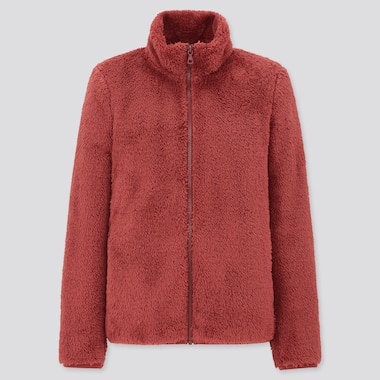 Women Fluffy Yarn Fleece Full-Zip Jacket, Red, Medium