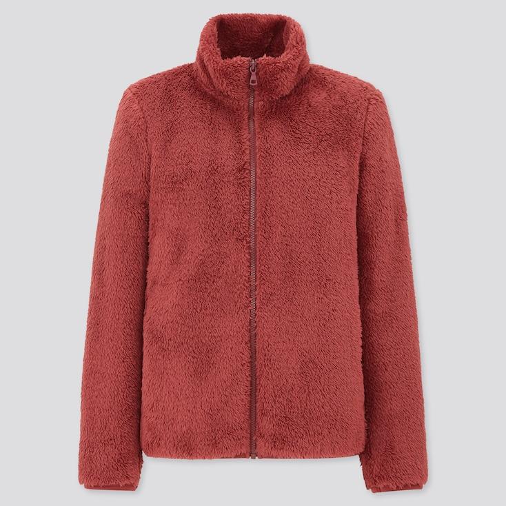 Women Fluffy Yarn Fleece Full-Zip Jacket, Red, Large
