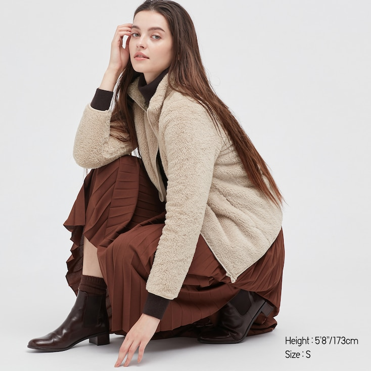 Women Fluffy Yarn Fleece Full-Zip Jacket, Natural, Large