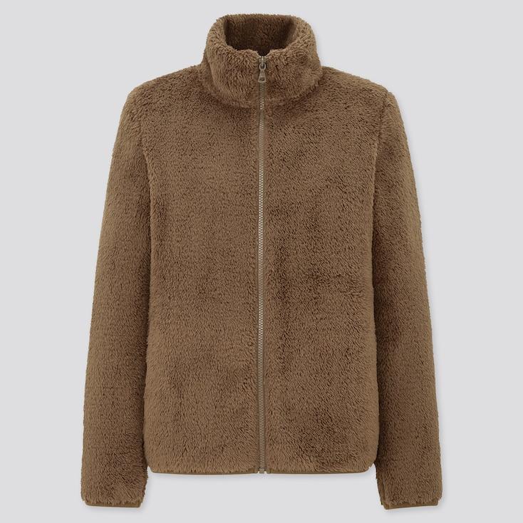 Women Fluffy Yarn Fleece Full-Zip Jacket, Dark Brown, Large