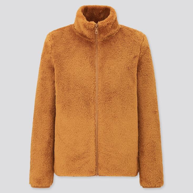 Women Fluffy Yarn Fleece Full-Zip Jacket, Mustard, Large