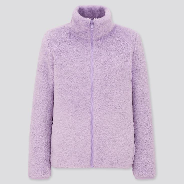 Women Fluffy Yarn Fleece Full-Zip Jacket, Purple, Large